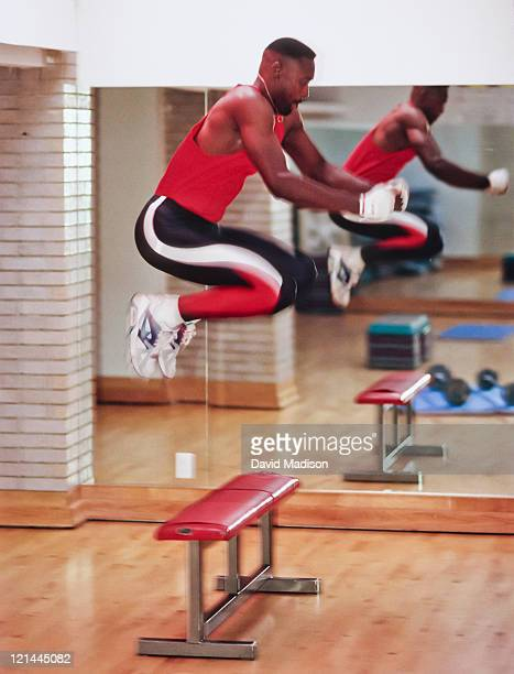 Butch Reynolds trains in a gym during April 1992 in Redwood City California Reynolds held the Men's track and field 400m world record from 1988 to...