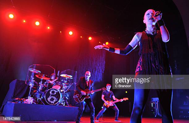 Butch Vig Duke Erikson Eric Avery and Shirley Manson of Garbage performs on stage at Brixton Academy on July 1 2012 in London United Kingdom