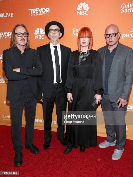 Butch Vig Duke Erikson Shirley Manson and Steve Marker of Garbage attend The Trevor Project's 2017 TrevorLIVE LA Gala at The Beverly Hilton Hotel on...
