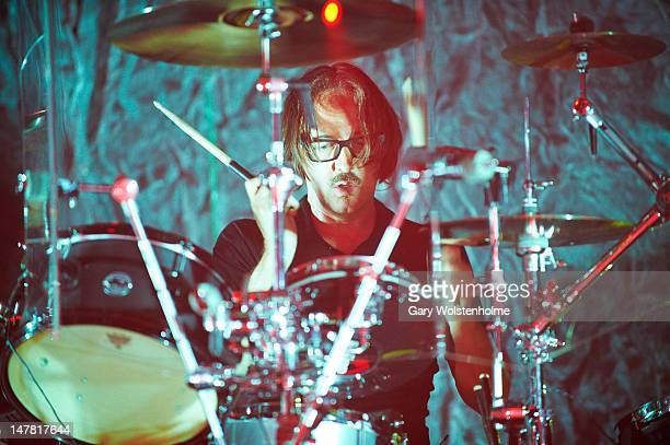 Butch Vig of Garbage performs on stage at Manchester Academy on July 3 2012 in Manchester United Kingdom