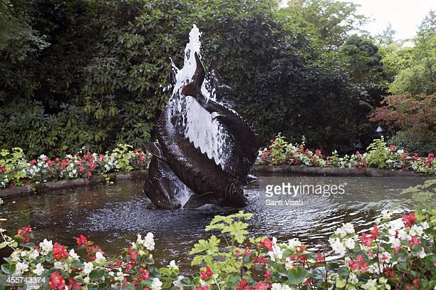 Butchart Gardens Sturgeon Fountain on August 30 2014 in Victoria British Columbia Canada