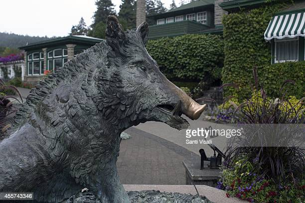 Butchart Gardens Wild Boar Fountain on August 30 2014 in Victoria British Columbia Canada