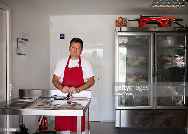 butcher at small organic farmers shop - klaus vedfelt mallorca stock pictures, royalty-free photos & images