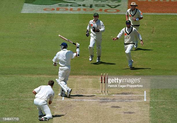 Butcher hits his stumps after being given out lbw to McGrath Australia v England 3rd Test Perth Dec 02
