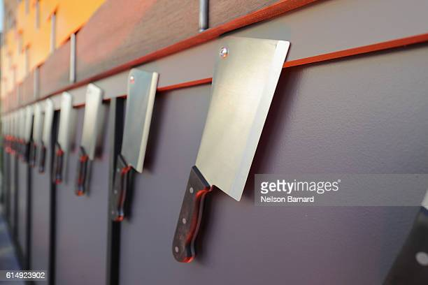 Butcher knives are seen at Rooftop Chopped during the Food Network Cooking Channel New York City Wine Food Festival presented by CocaCola at Pier 92...