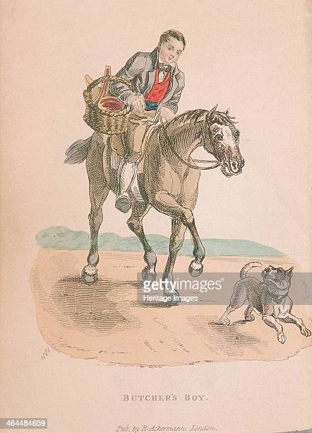 Butcher's boy riding a horse accompanied by a dog running ahead carrying a basket of meat c1830