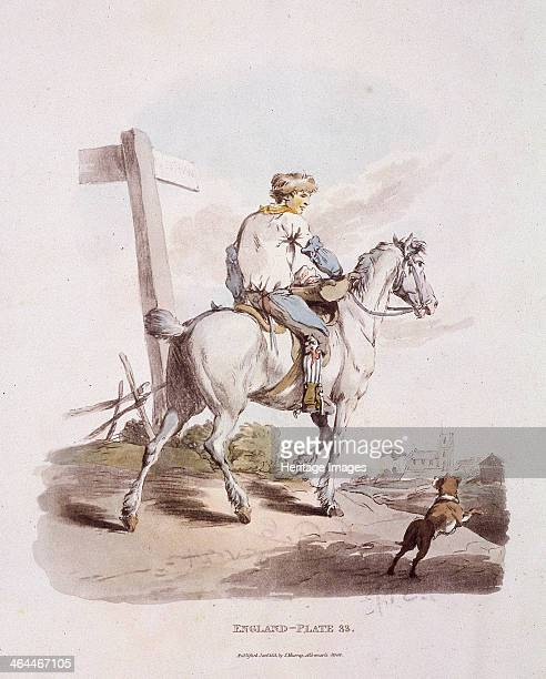A butcher's boy riding a horse with a dog running alongside From Provincial Characters 1813