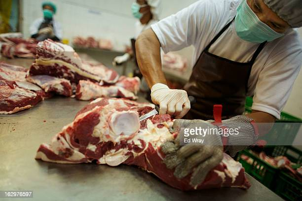 Butchers cut sides of beef at an abattoir on February 20 2013 in West Java Indonesia The price of beef in Indonesia now around Rp 95000 per kilo has...