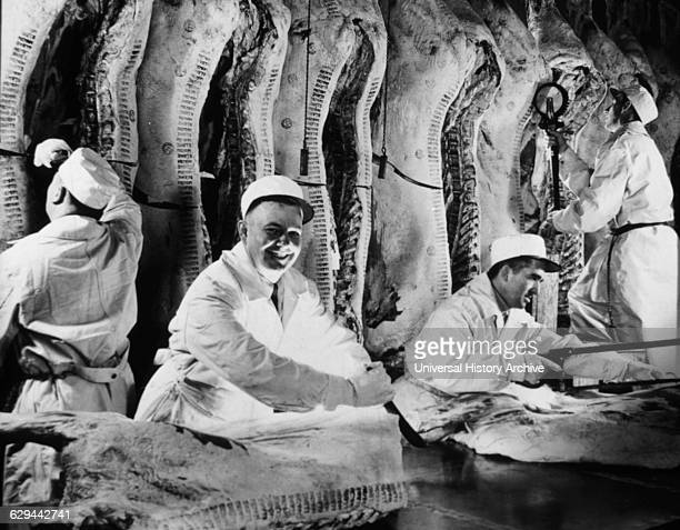 Butchers in Meat Packing House Chicago Illinois USA circa 1944