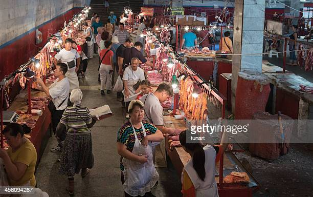 butchers in osh bazaar, bishkek, kyrgyzstan - osh stock pictures, royalty-free photos & images