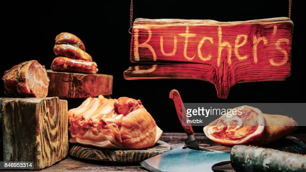 Butchers shop with wood sign