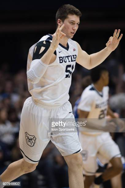 Butler Bulldogs center Nate Fowler celebrates after making a three pointer during the men's college basketball game between the Butler Bulldogs and...