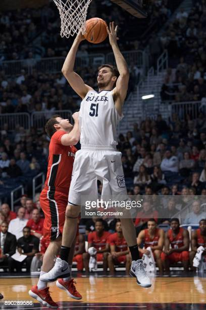 Butler Bulldogs center NateFowler grabs a rebound in the lane during the men's college basketball game between the Butler Bulldogs and Youngstown...