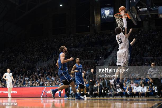 Butler Bulldogs center Nate Fowler scores in the lane during the men's college basketball game between the Butler Bulldogs and Creighton Bluejays on...