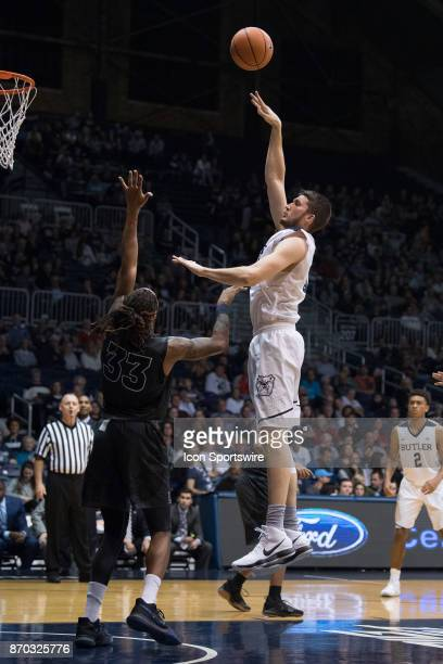 Butler Bulldogs center Nate Fowler shoots over Lincoln Memorial Rail Splitters forward Emanuel Terry during the men's college basketball exhibition...