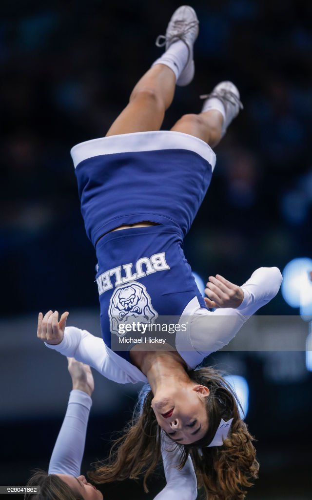 A Butler Bulldogs cheerleader is seen during the game against the Creighton Bluejays at Hinkle Fieldhouse on February 20, 2018 in Indianapolis, Indiana.