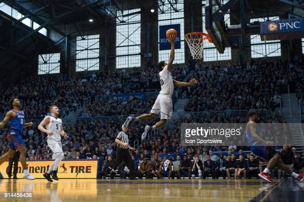 Butler Bulldogs forward Henry Baddley scores on a fast break layup during the men's college basketball game between the Butler Bulldogs and DePaul...