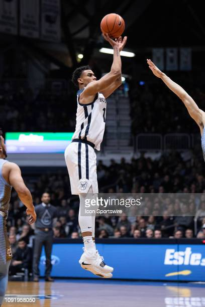 Butler Bulldogs forward JordanTucker shoots a three pointer during the men's college basketball game between the Butler Bulldogs and Marquette...