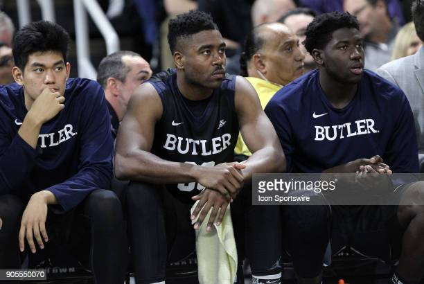 Butler Bulldogs forward Kelan Martin looks on from the bench during a college basketball game between Butler Bulldogs and Providence Friars on...