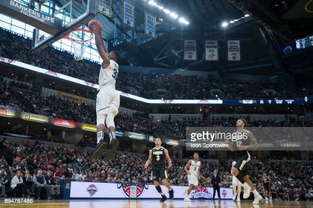 Butler Bulldogs forward KelanMartin goes up for a dunk on a fast break during the Crossroads Classic basketball game between the Butler Bulldogs and...