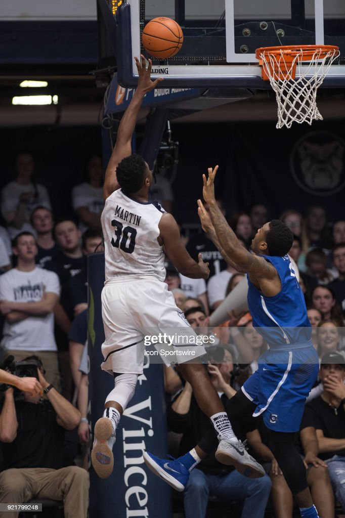 Butler Bulldogs forward KelanMartin (30) scores in the lane during the men's college basketball game between the Butler Bulldogs and Creighton Bluejays on February 20, 2018, at Hinkle Fieldhouse in Indianapolis, IN.