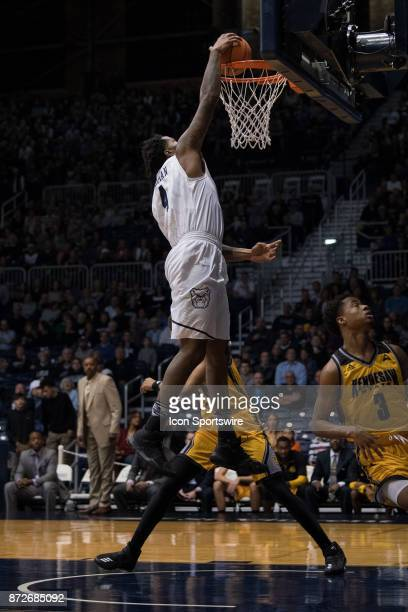 Butler Bulldogs forward TylerWideman gets a dunk on a fast break during the men's college basketball game between the Butler Bulldogs and Kennesaw...