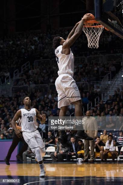 Butler Bulldogs forward TylerWideman goes up for a dunk on a fast break during the men's college basketball game between the Butler Bulldogs and...