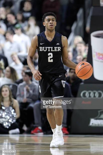 Butler Bulldogs guard Aaron Thompson dribbles the ball up court during a college basketball game between Butler Bulldogs and Providence Friars on...