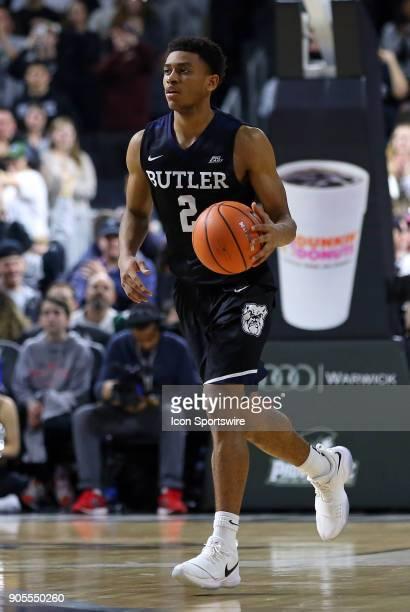 Butler Bulldogs guard Aaron Thompson with the ball during a college basketball game between Butler Bulldogs and Providence Friars on January 15 at...