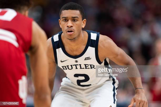 Butler Bulldogs guard AaronThompson plays full court defense during the Crossroads Classic basketball game between the Butler Bulldogs and Indiana...