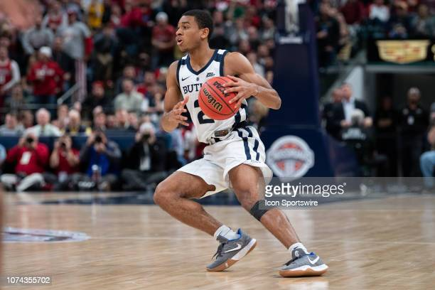 Butler Bulldogs guard AaronThompson sets up the offense during the Crossroads Classic basketball game between the Butler Bulldogs and Indiana...