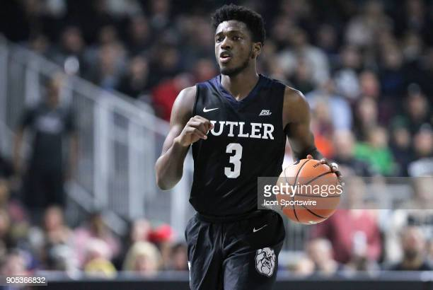 Butler Bulldogs guard Kamar Baldwin brings the ball up court during a college basketball game between Butler Bulldogs and Providence Friars on...