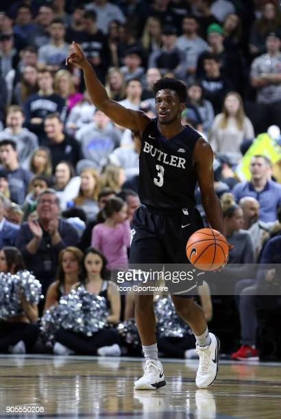 Butler Bulldogs guard Kamar Baldwin directs the offense during a college basketball game between Butler Bulldogs and Providence Friars on January 15...