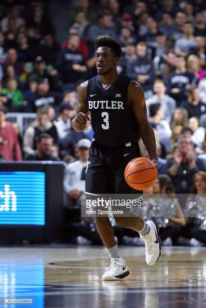 Butler Bulldogs guard Kamar Baldwin dribbles the ball up court during a college basketball game between Butler Bulldogs and Providence Friars on...