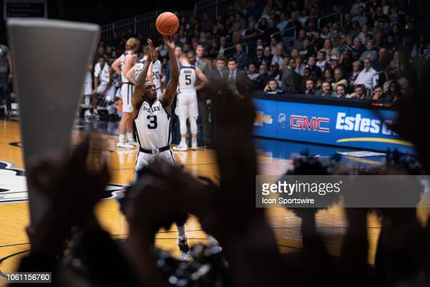 Butler Bulldogs guard KamarBaldwin shoots a free throw during the men's college basketball game between the Butler Bulldogs and Detroit Mercy Titans...