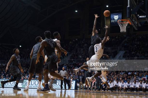 Butler Bulldogs guard Kamar Baldwin shoots over Lincoln Memorial Rail Splitters forward Emanuel Terry in the lane during the men's college basketball...