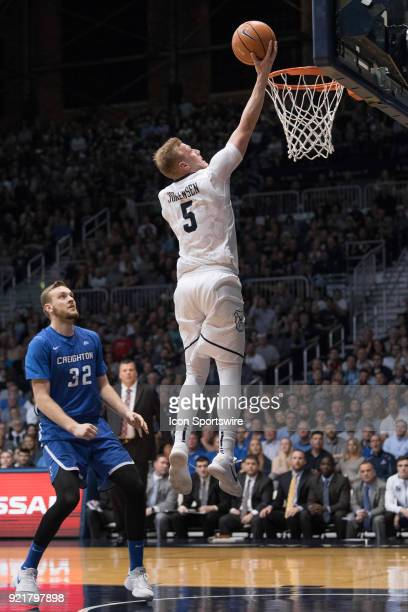 Butler Bulldogs guard PaulJorgensen scores on a fast break after a steal during the men's college basketball game between the Butler Bulldogs and...