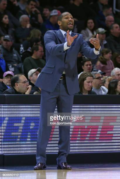Butler Bulldogs head coach LaVall Jordan instructs his team during a college basketball game between Butler Bulldogs and Providence Friars on January...