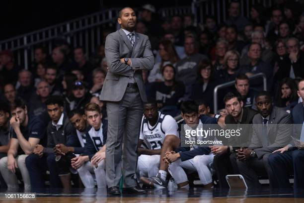 Butler Bulldogs head coach LaVall Jordan on the sidelines during the men's college basketball game between the Butler Bulldogs and Detroit Mercy...