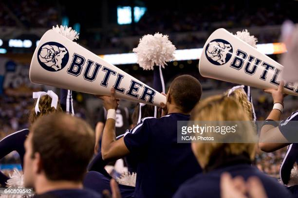 Butler cheerleaders cheer during the first half of the semifinal game of the 2010 NCAA Photos via Getty Images Final Four Division I Men's Basketball...