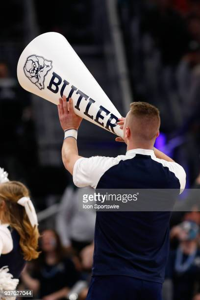 Butler cheerleaders entertain during a timeout during the NCAA Division I Men's Championship First Round basketball game between the Arkansas...