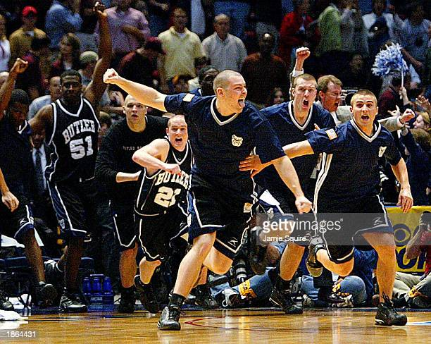 Butler players celebrate their victory over Mississippi State as the final seconds elapse during the second half of the game between Mississippi...