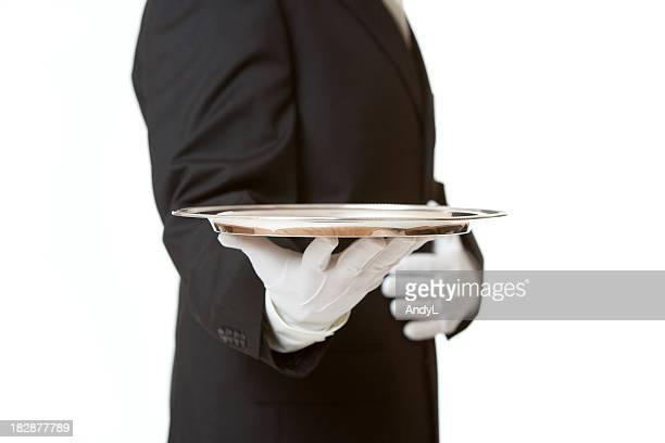 SERVICE MAJORDOME, PLATEAU vide d'argent sur fond blanc