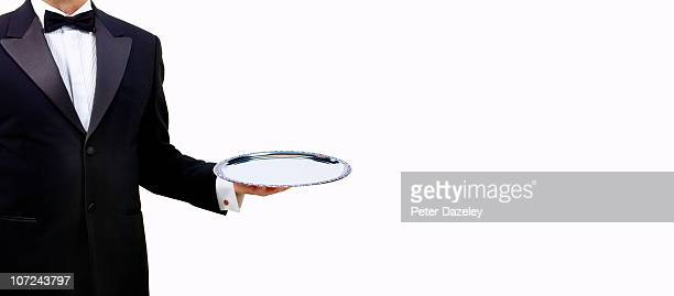 Butler waiter with empty serving tray