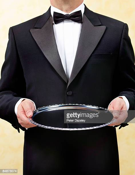 butler waiter with silver tray, salver - butler stock pictures, royalty-free photos & images
