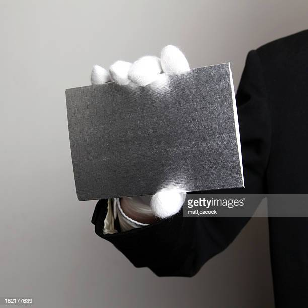 Butler with blank card