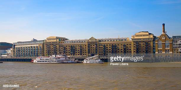 Butler's Wharf on South Bank of River Thames in London.