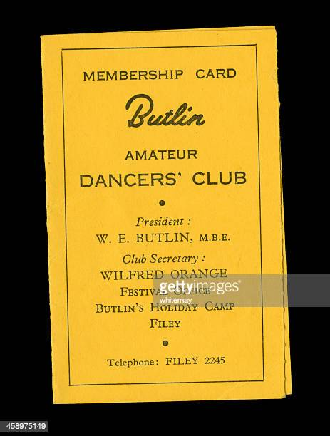 butlin's amateur dancers' club card - telephone number stock pictures, royalty-free photos & images