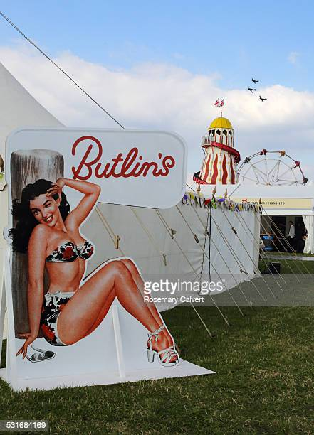 Butlin's holiday camp sign advertising a type of family holiday popular in the 1960s shot in 2014 at Goodwood Revival Goodwood England