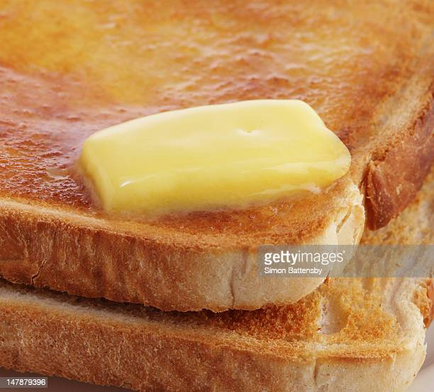 Butter melting on hot toast